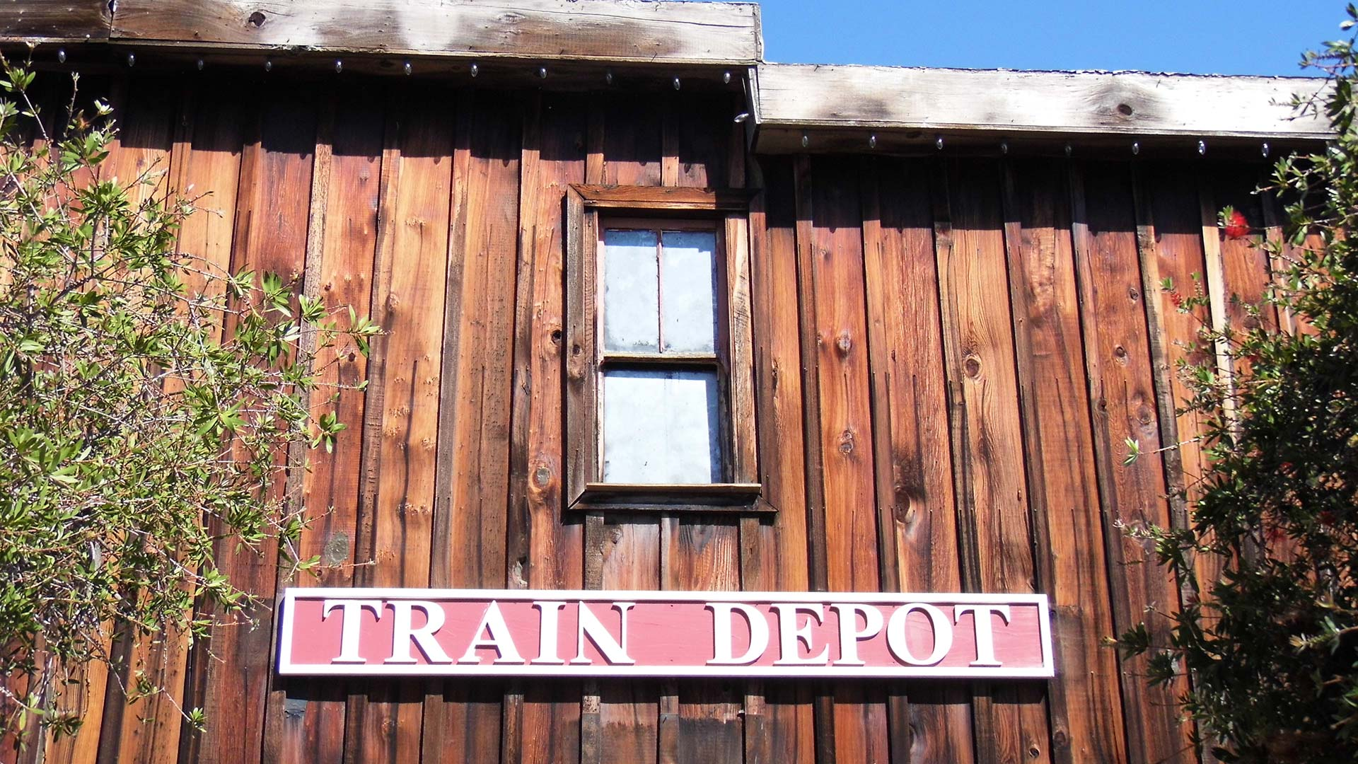 The old train depot at the Heritage Park Village Museum.