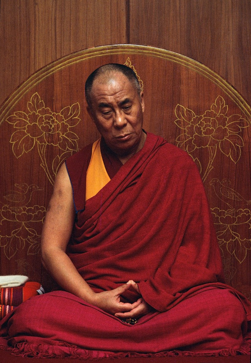His Holiness the Dalai Lama in meditation at his residence in Dharamsala, India, 1997 | Don Farber