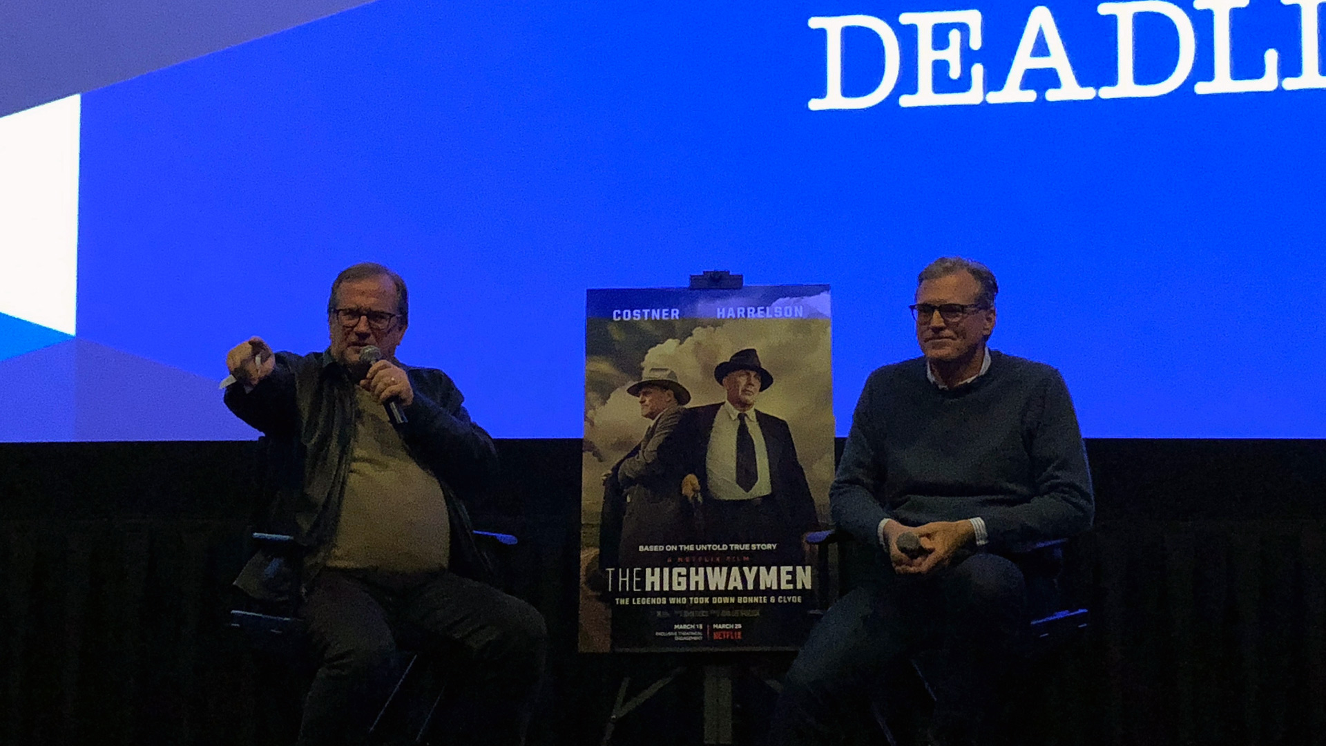 """Cinema Series host Pete Hammond and Director John Lee Hancock participate in a Q&A discussion after a screening of """"The Highwaymen"""""""