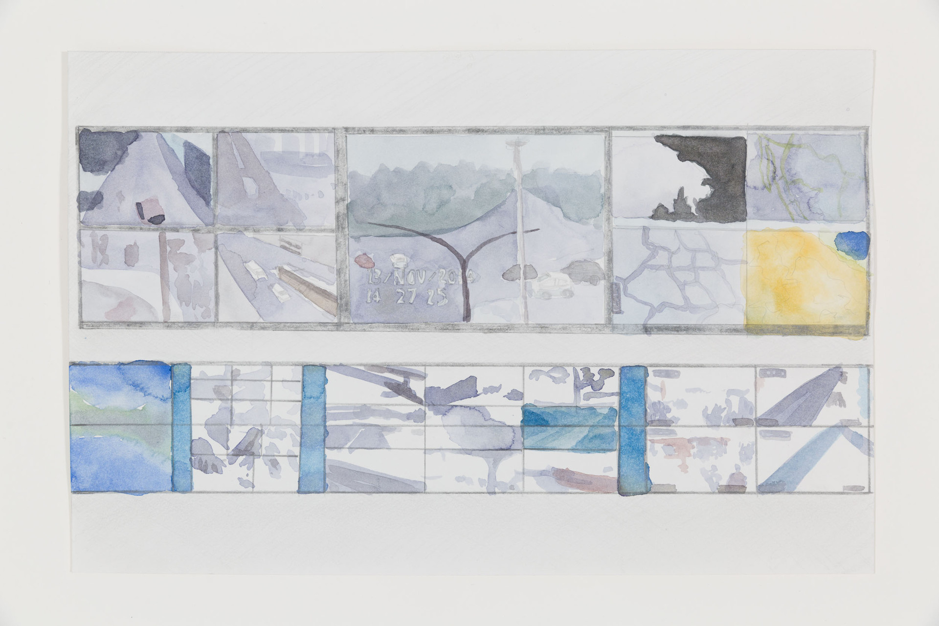 "Hillary Mushkin, ""Control Room Main Screen Array,"" C4i4, Mexico City, Mexico, 2014–15. Watercolor and graphite on paper."