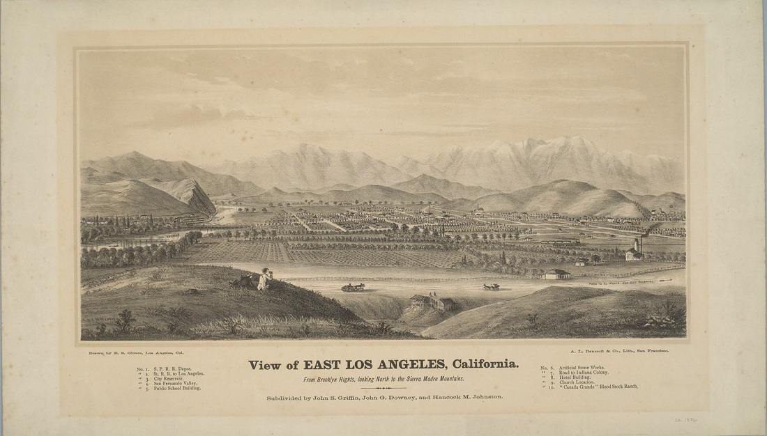 View of East Los Angeles, California, looking north to the Sierra Madre Mountains