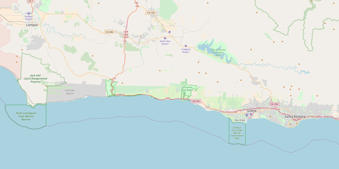 Map of coastline between Santa Barbara and Point Conception. | OpenStreetMap