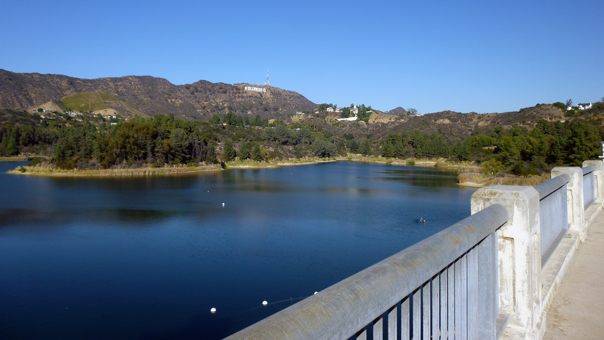 Mulholland Dam at the Hollywood Reservoir