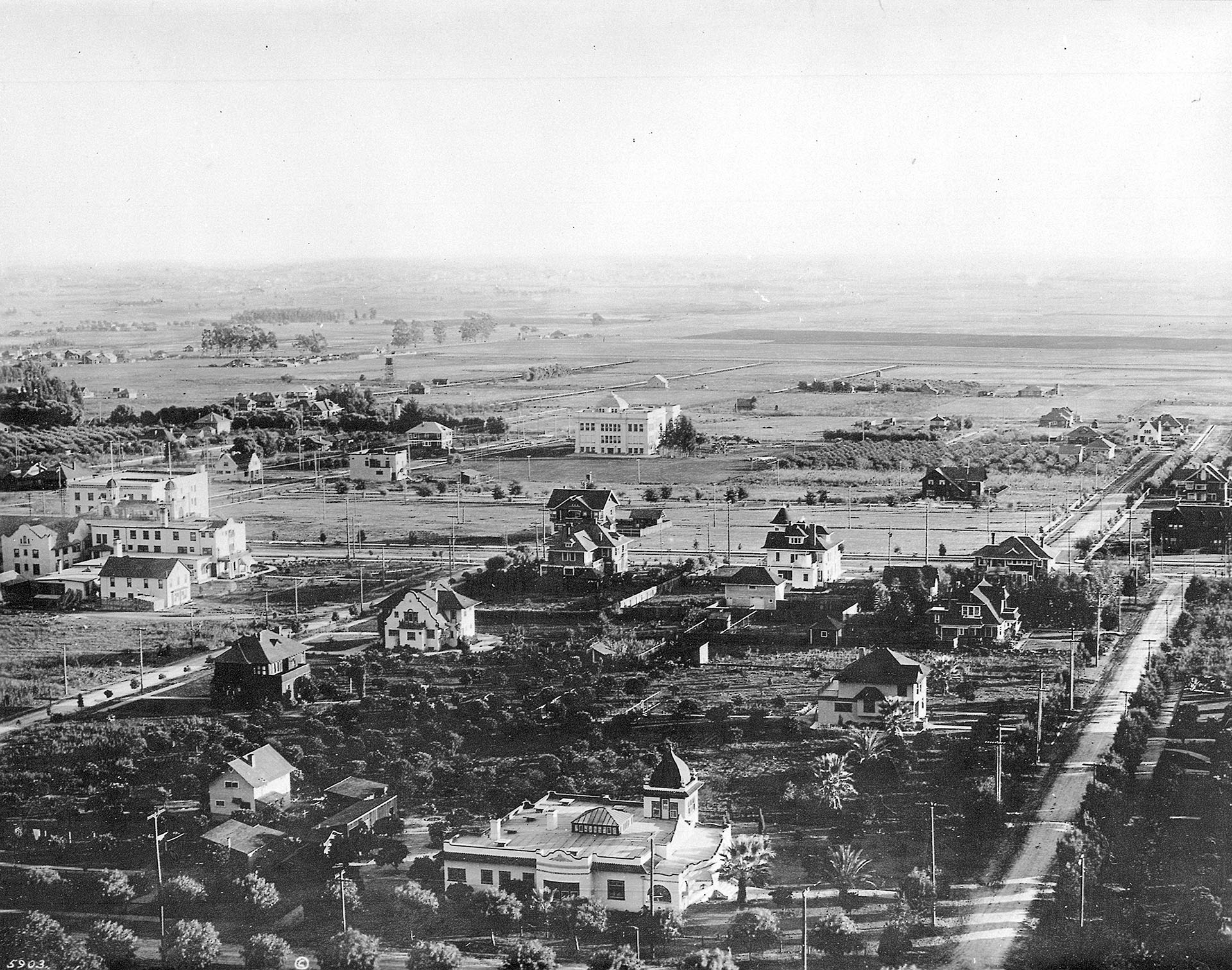 Panoramic view of Hollywood showing Orchard Street and Orange Drive, ca.1905