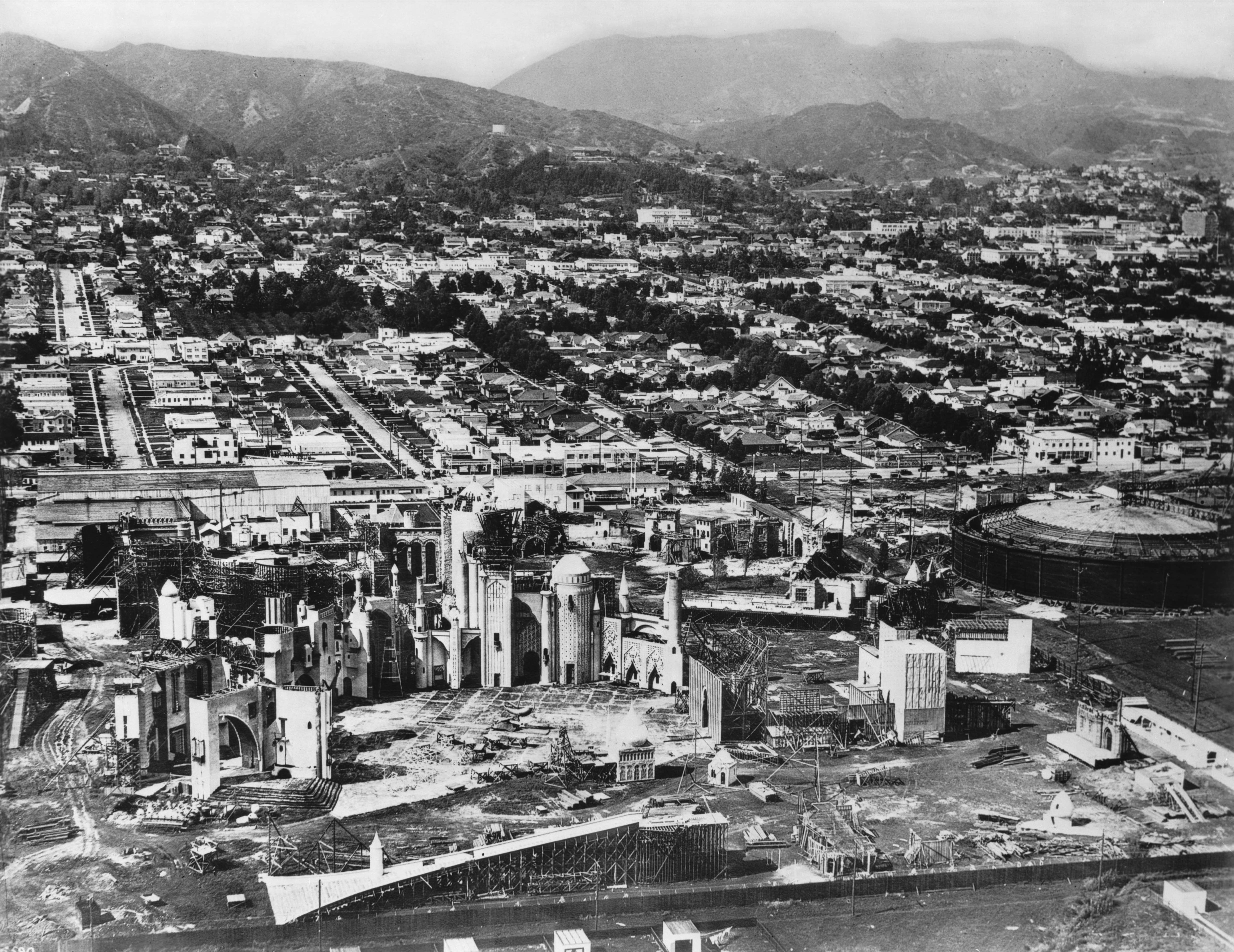 Aerial view of Hollywood, showing the Pickford-Fairbanks Studio on Santa Monica Boulevard, California, 1926