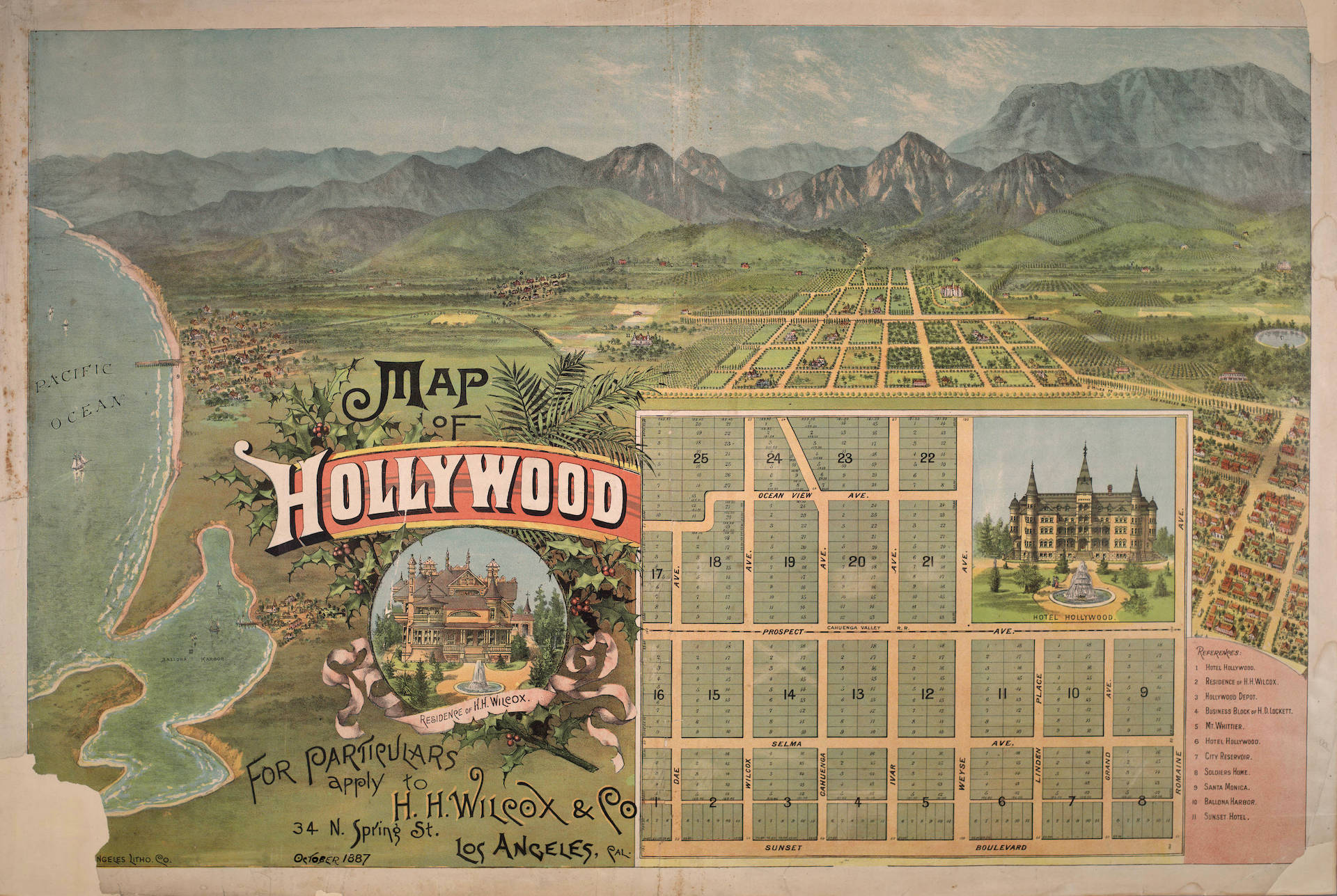 Map of Hollywood, Oct. 1887, H.H. Wilcox and Company