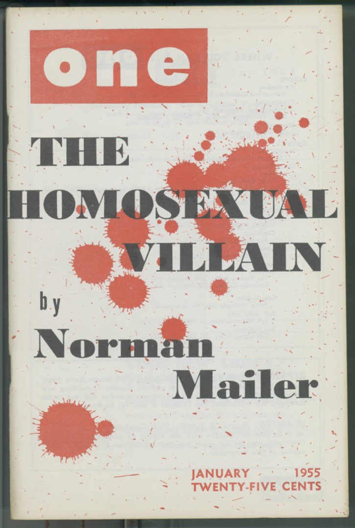 "Cover of One magazine featuring ""The homosexual villain"" by Norman Mailer, 1955. 