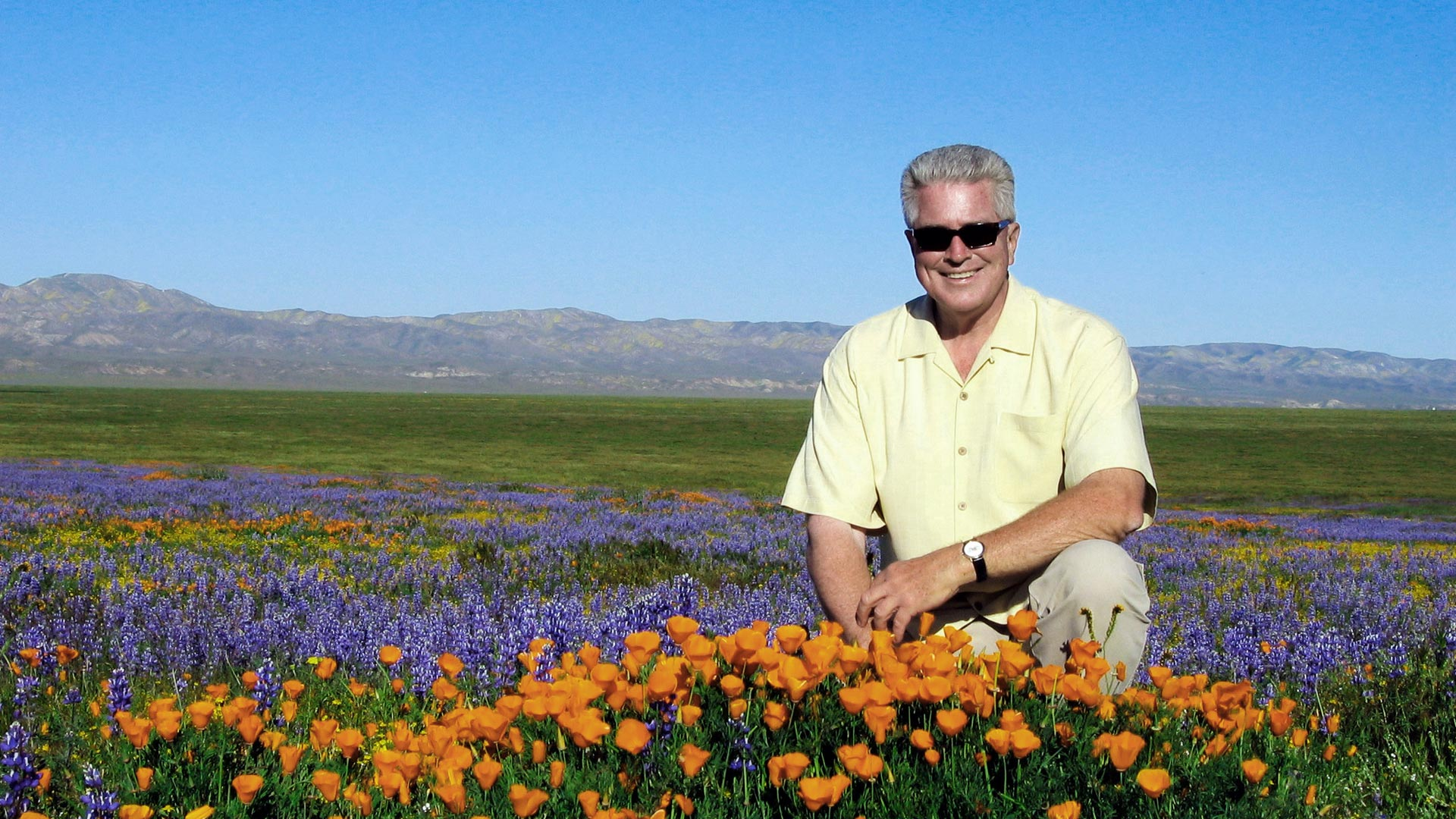 Huell Howser with Poppies