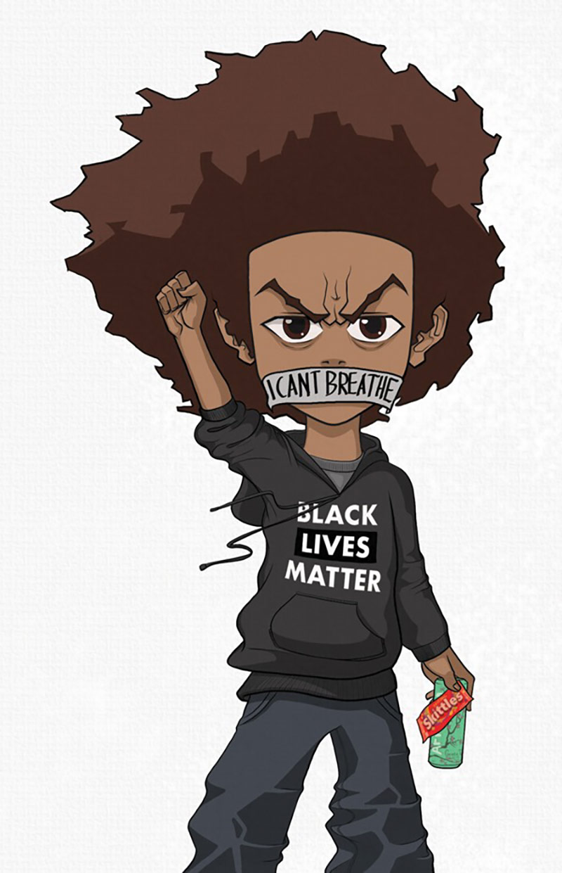 "Drew Newman, drawing of ""Huey"" from Aaron McGruder's ""The Boondocks,"" 2019. 