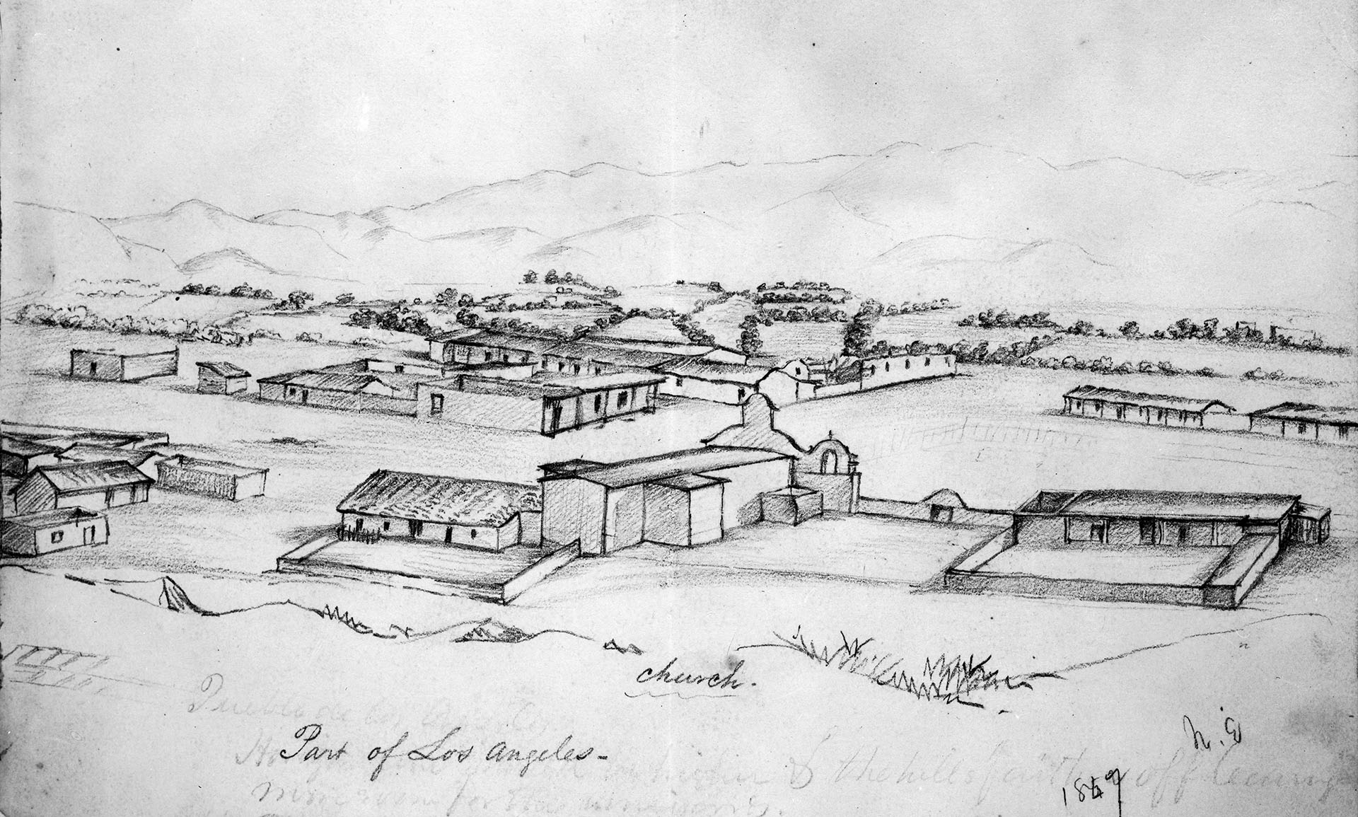Los Angeles as drawn by William Rich Hutton in July 1847. Courtesy of the Title Insurance and Trust, and C.C. Pierce Photography Collection, USC Libraries.