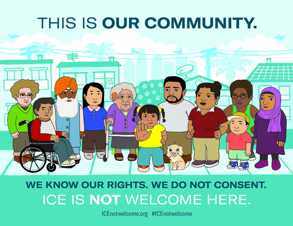 ICE Not Welcome poster | Audrey Chan, ACLU SoCAL