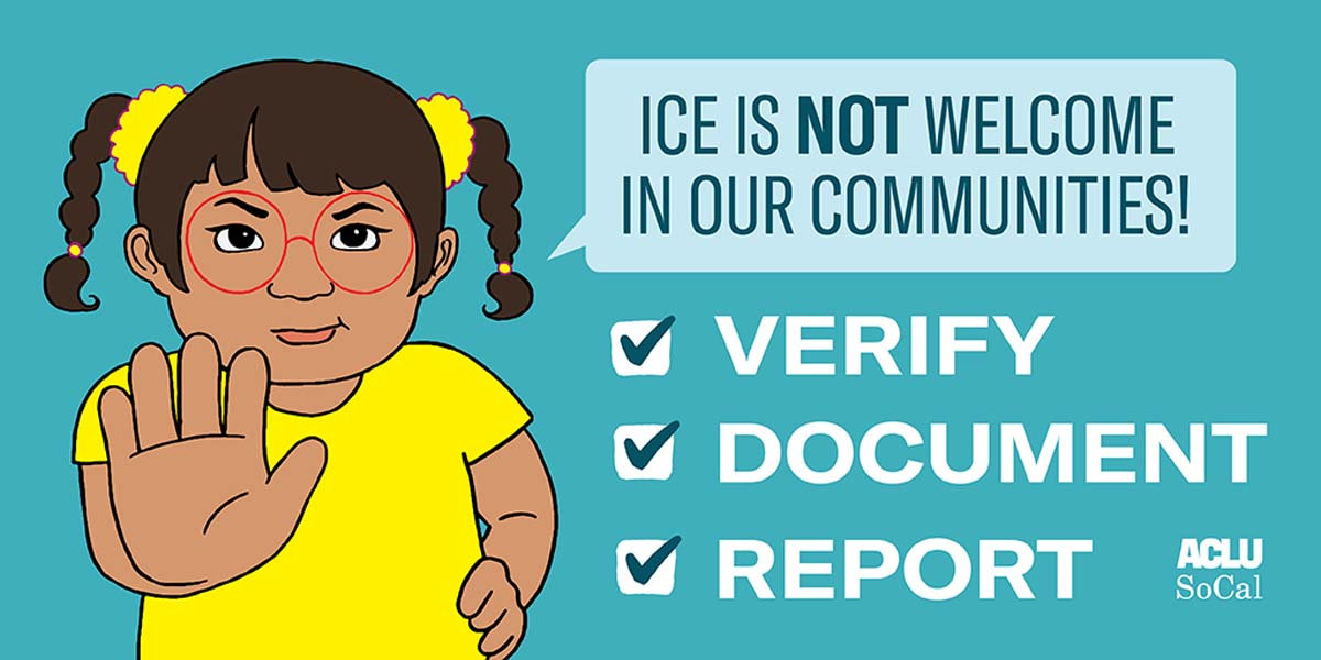 "A drawing of a child holding her hand up saying ""ICE is not welcome in our communities."" 