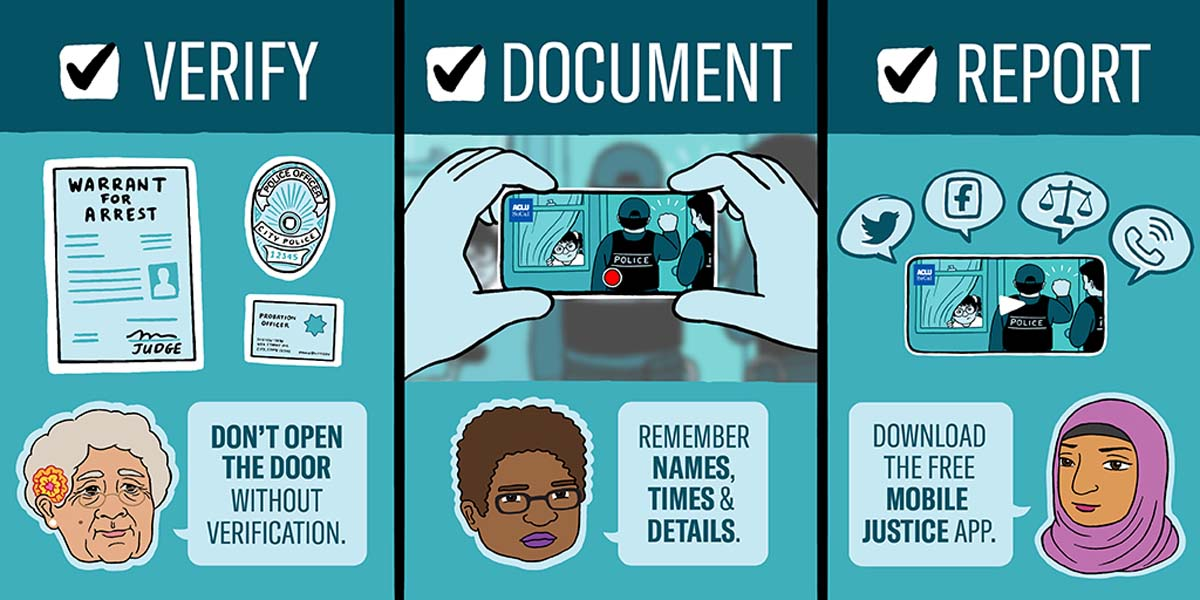 An illustration that outlines the steps communities should take to report ICE visits. | Audrey Chan, ACLU SoCal