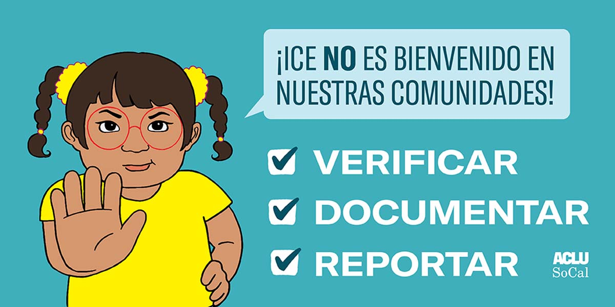 "A Spanish version of a poster with a drawing of a child holding her hand up saying ""ICE is not welcome in our communities."" 
