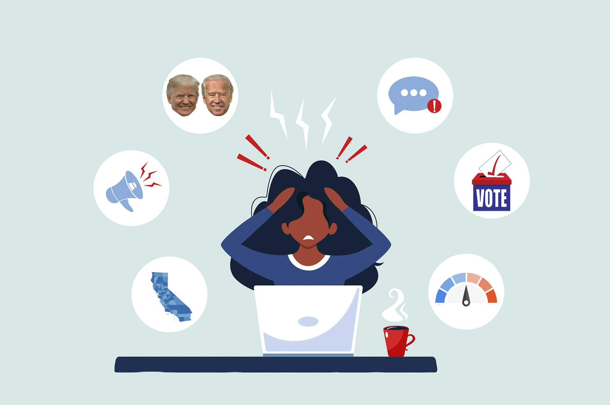 Nerves are frazzled, anxiety is high. Here's a survival guide with clues to how to watch returns on election night in California. | Illustration by Anne Wernikoff for CalMatters; iStock