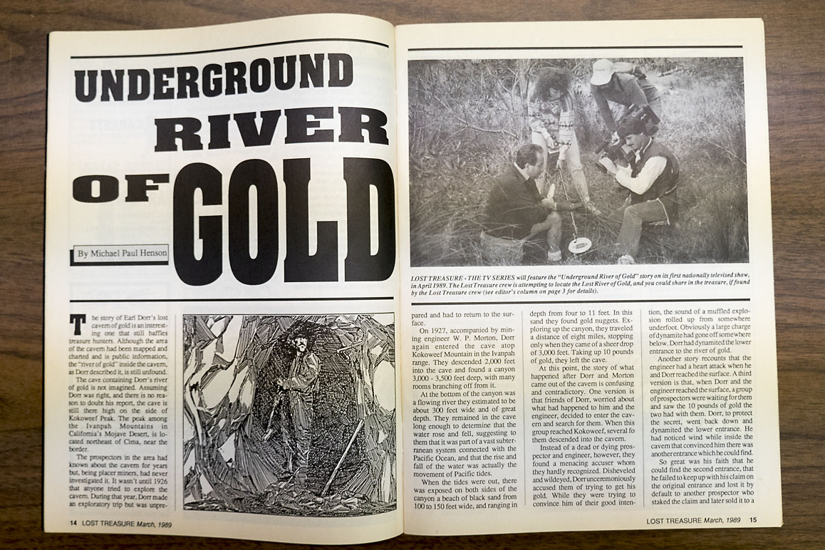 "Lost Treasures 1989 ""Underground River of Gold"" is one of many treasure hunting articles peddling the infamous Dorr legend. 