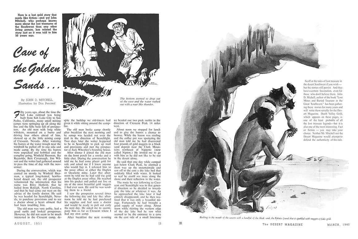 """Cave of the Golden Sands"" (left) and ""Death Valley Gold"" (right) are two of John D. Mitchell's lost mine stories published in Desert Magazine during 1940 and 1951. Each incorporate varying storylines woven into Dorr's legend."