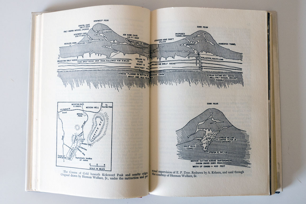 "Renderings of ""The Cavern of Gold"" appearing in William R. Halliday's 1959 ""Adventure is Underground"" that were drawn from original maps supervised by E.P. Dorr. 
