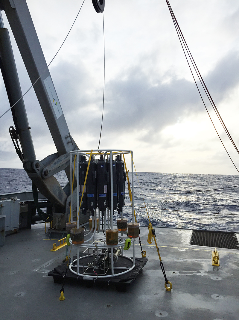 A CTD-rosette, an instrument that measures conductivity, temperature and density, onboard an oceanographic research ship. | Naomi Levine