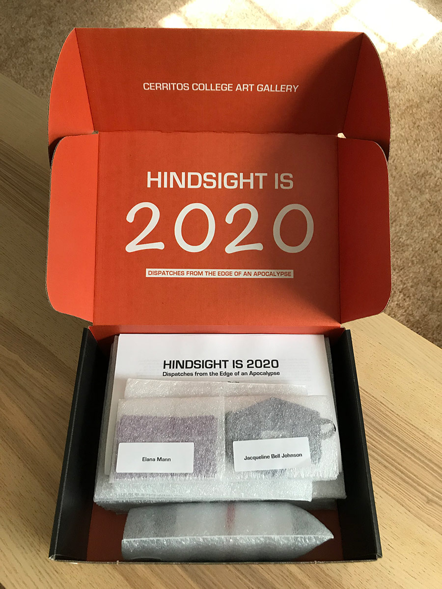 "Interior of ""Hindsight Is 2020: Dispatches from the Edge of an Apocalypse,"" exhibition-in-a-box. 