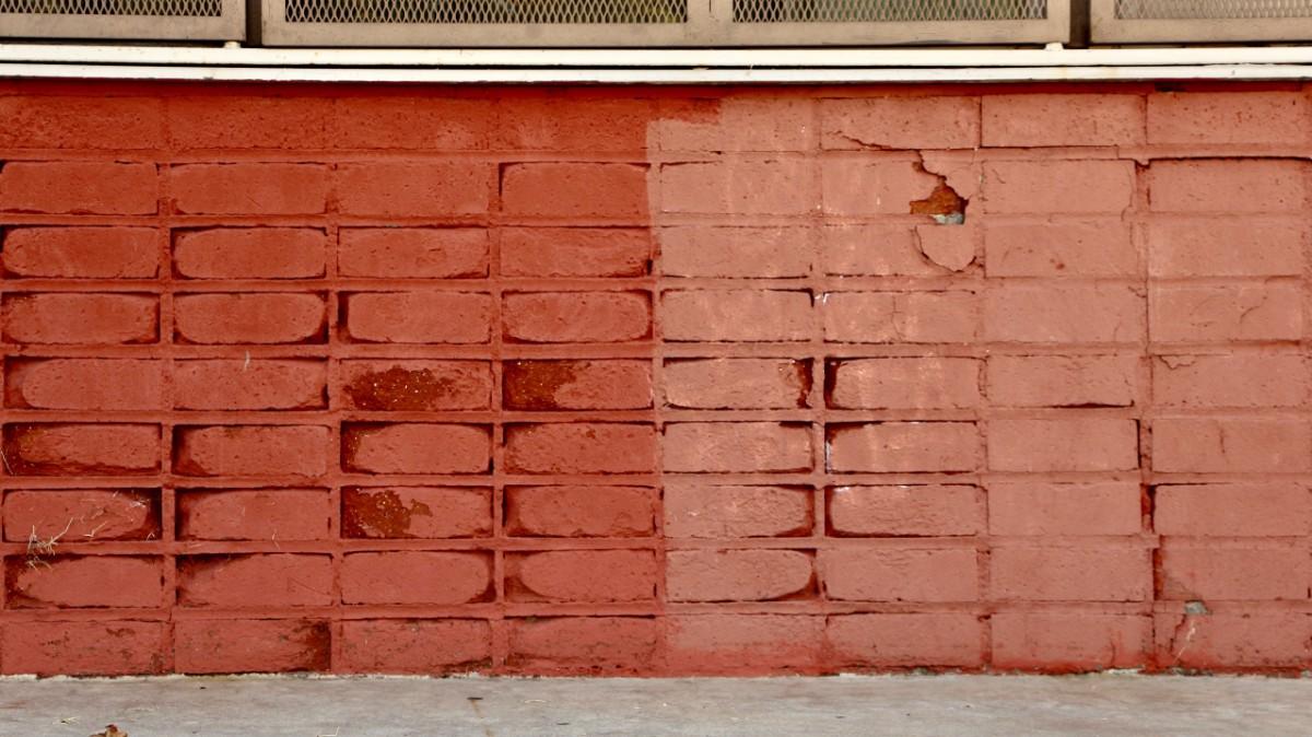 Repainted brick versus eroded brick | Photo by Jordan Riefe