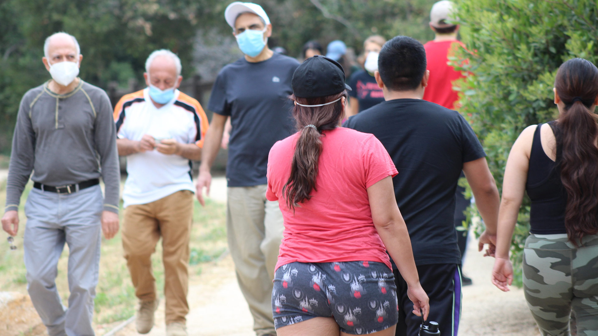 People walk in Temescal Canyon, May 9. 2020, the first day L.A. City and County trails are reopened. | Karen Foshay