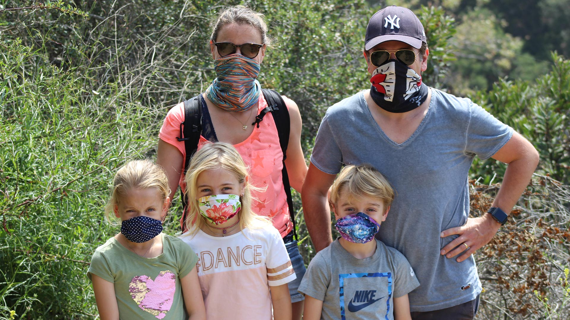 Maria and Christian Ditter with their three children on a hike in Temescal Canyon. | Karen Foshay