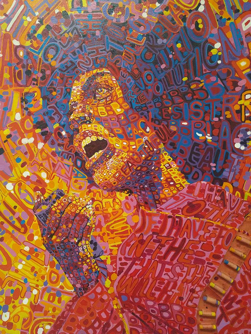 Detail of Wadsworth Jarrell's Revolutionary (Angela Davis), 1971. Acryclic and mixed media on canvas. | Carren Jao