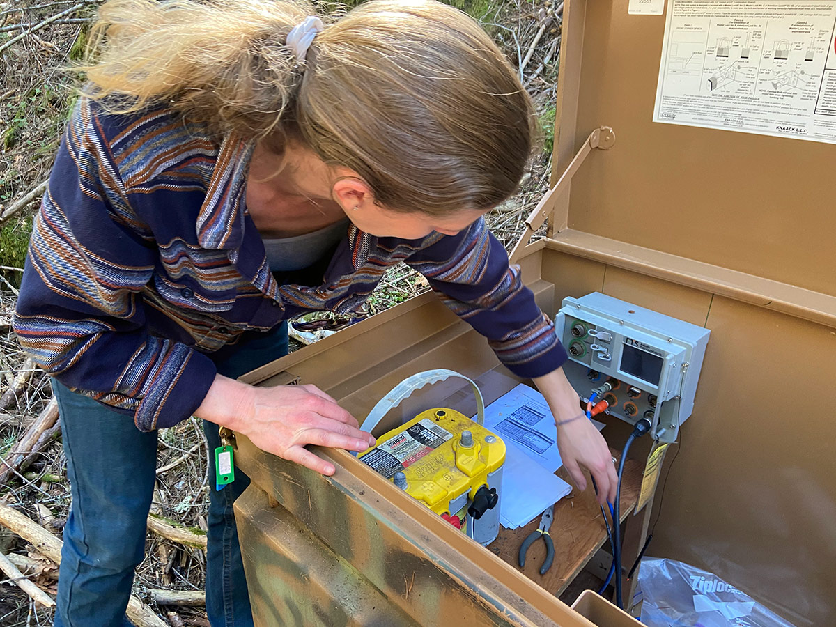 Carrie Monohan, head scientist for the Sierra Fund, checks a gauge that monitors water quality in Malakoff Diggins State Historic Park. This gauge measures turbidity, which can be used as an approximation for mercury content.   Alexandria Herr