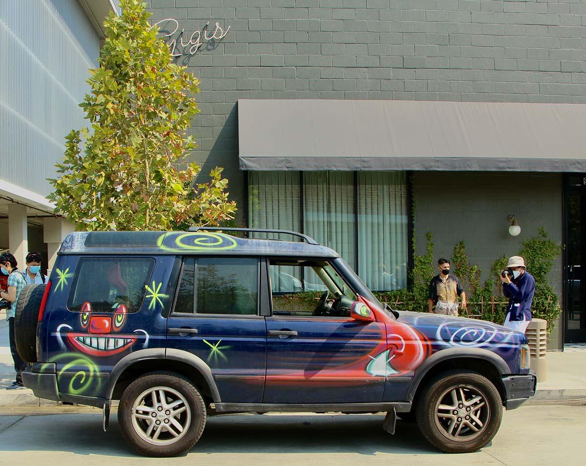 "A jeep participating at Kenny Scharf's ""Karbombz!"" car parade September 26, 2020 | Jordan Riefe"
