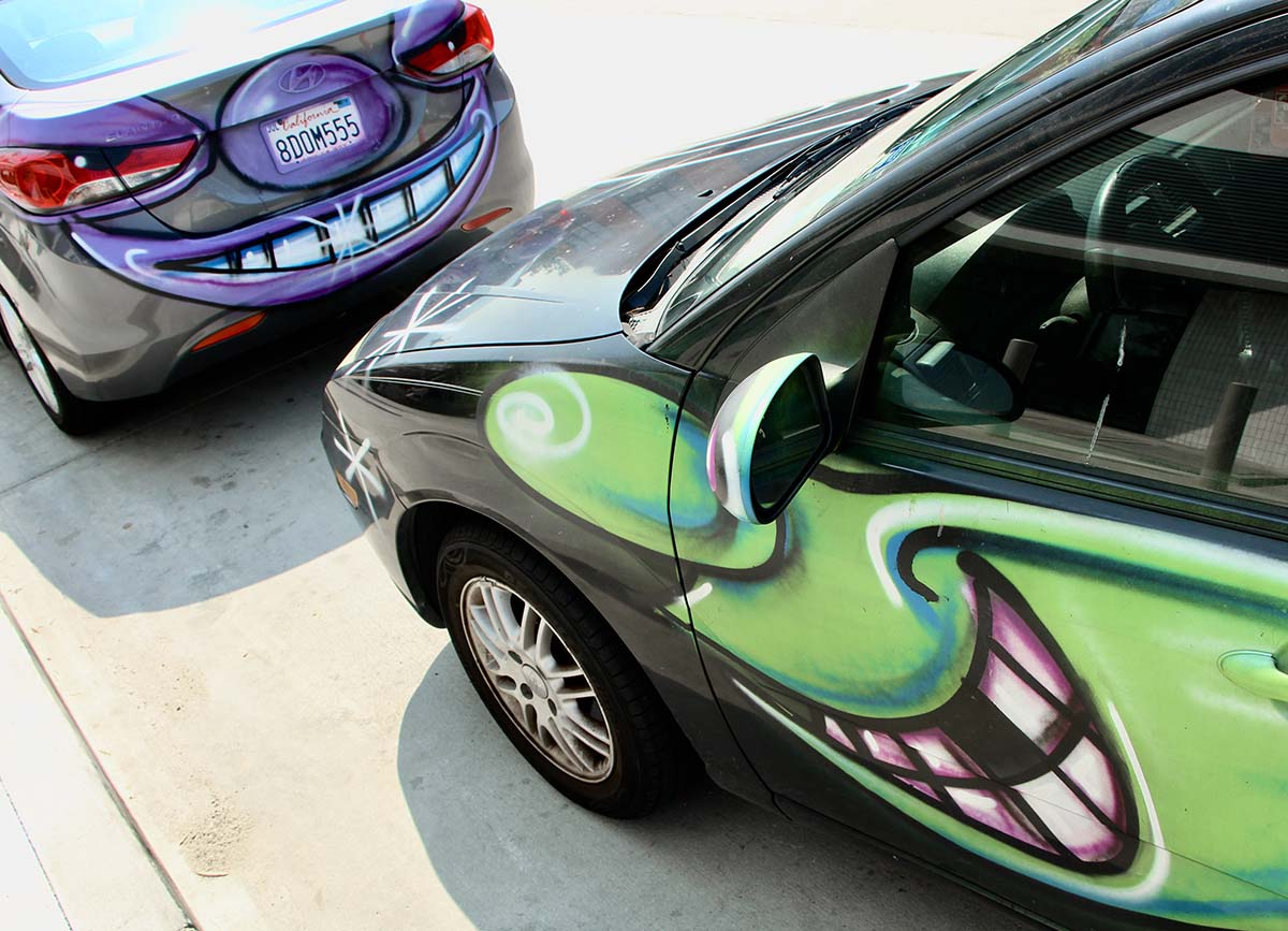 "Cars participating at Kenny Scharf's ""Karbombz!"" car parade September 26, 2020 | Jordan Riefe"