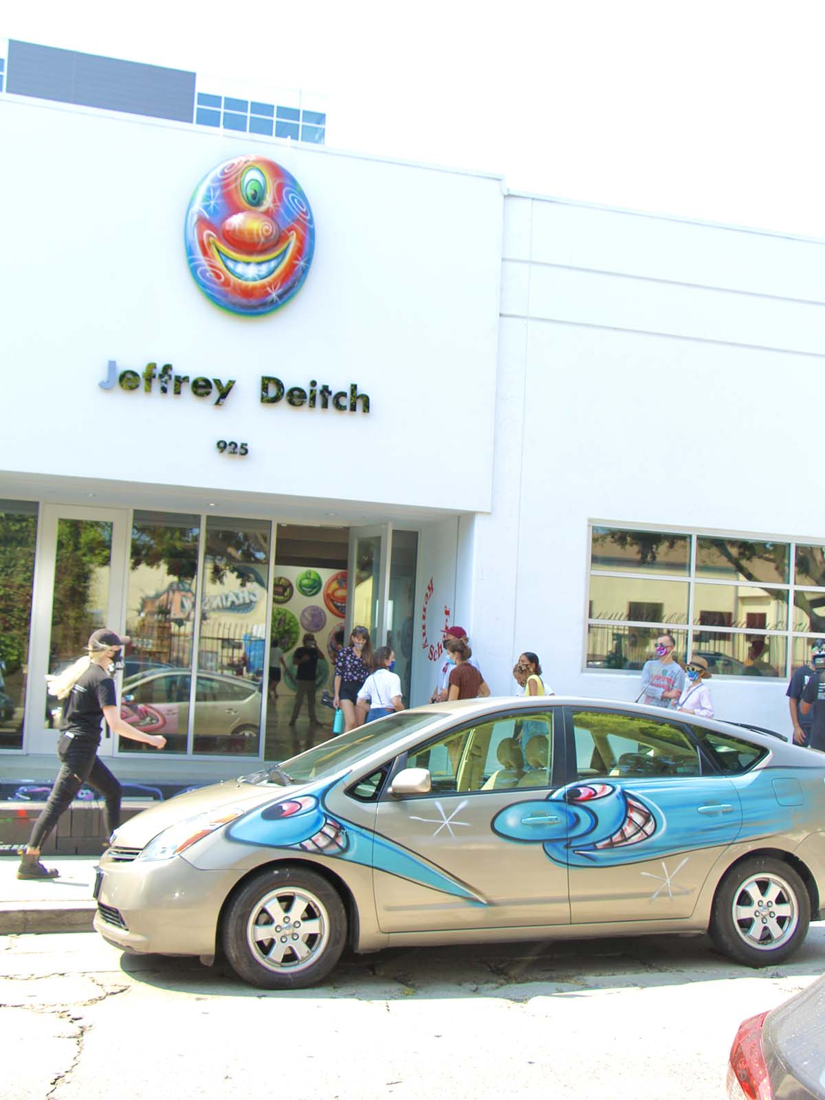 """Cars participating at Kenny Scharf's """"Karbombz!"""" car parade September 26, 2020. It's parked outside Jeffrey Deitch gallery. 