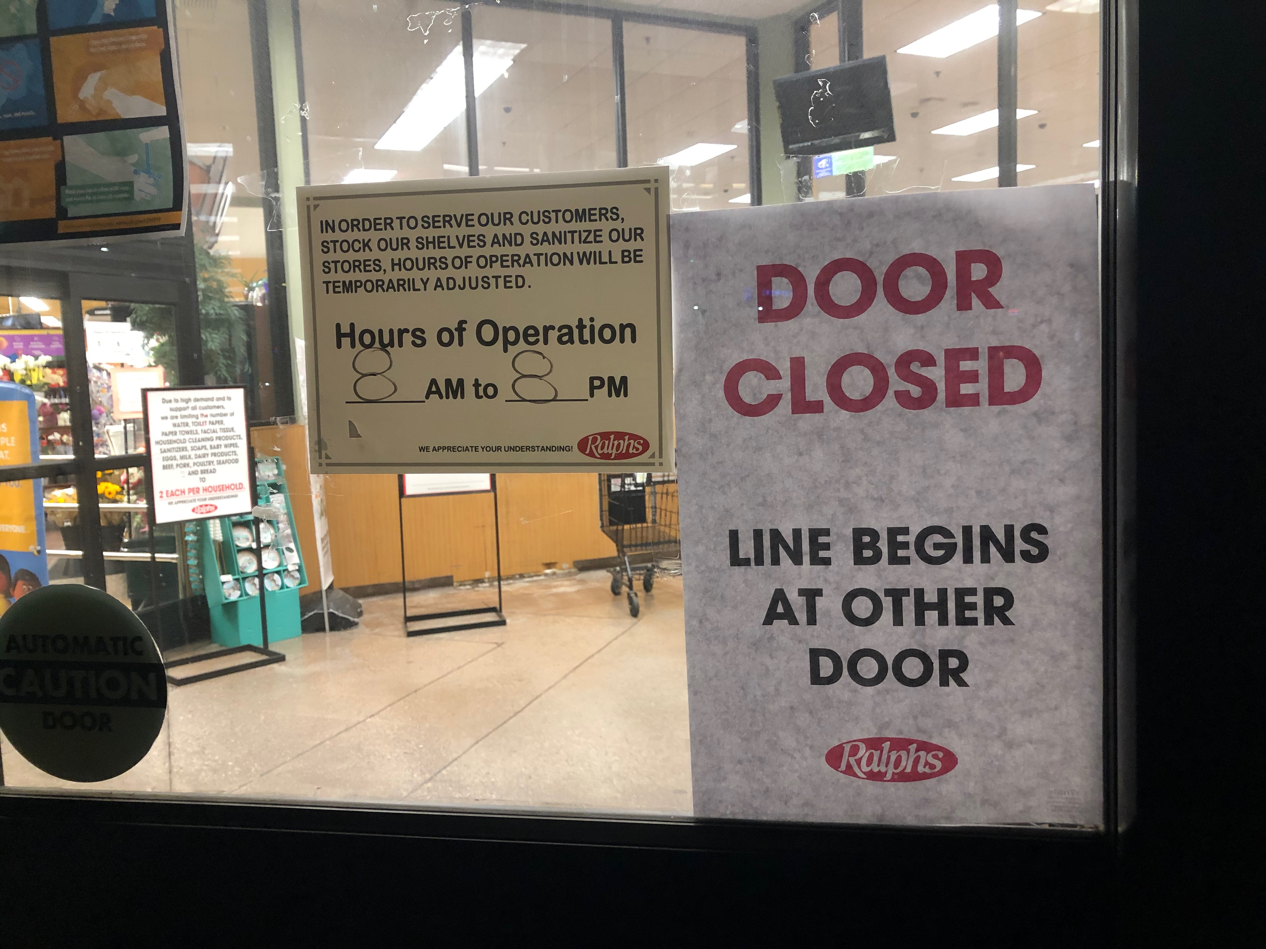 Ralphs Hours of Operation sign, adjusted to 8 a.m. to 8 p.m. during COVID-19 pandemic | Karen Foshay
