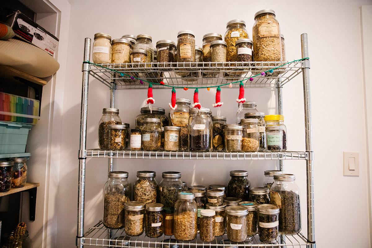 Loba's jars of dried herbs. | Samanta Helou Hernandez