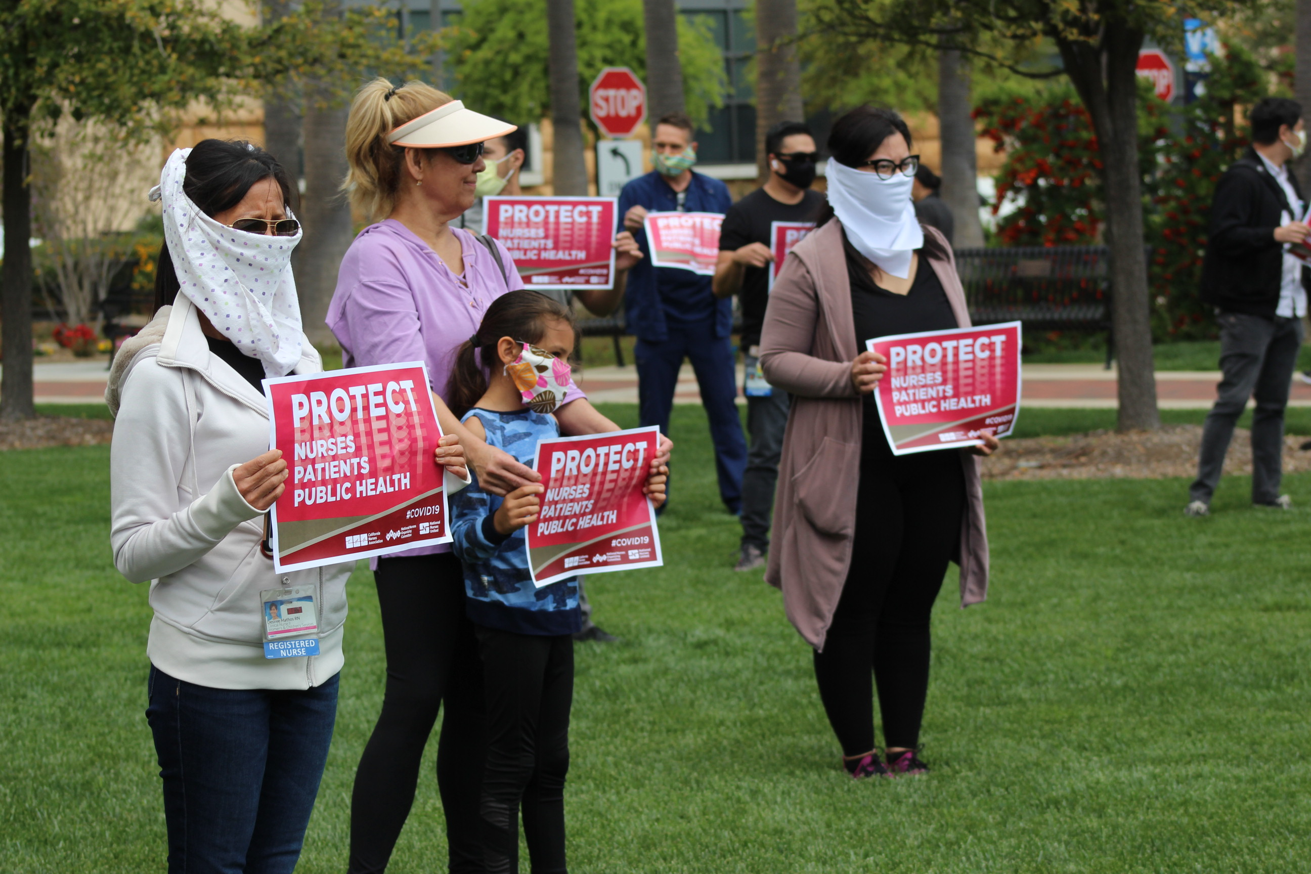 Group of nurses protesting outside UCI Medical Center in Orange, charging they are risking their lives during COVID-19 outbreak on Friday, April 3rd | Karen Foshay