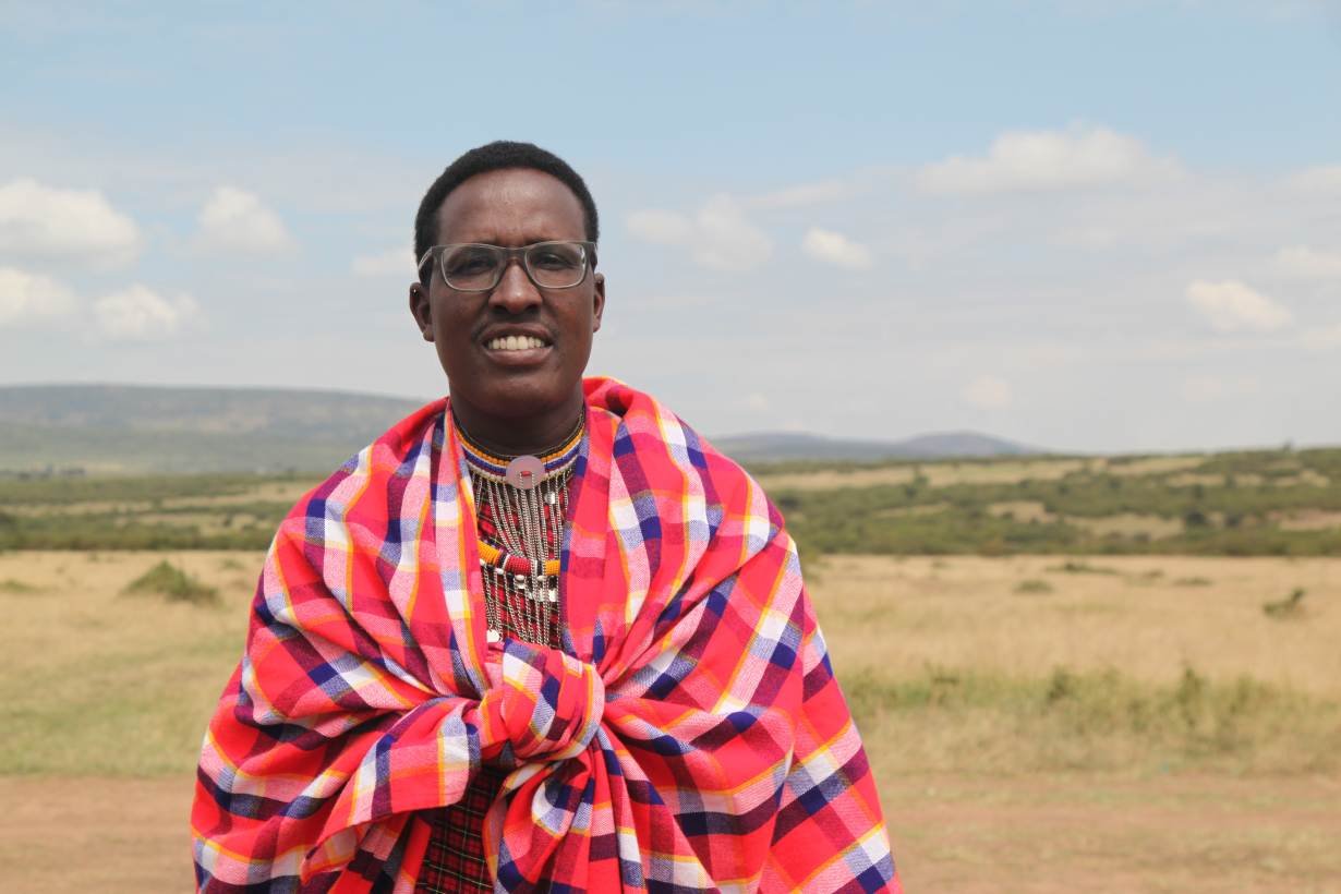Nelson Ole Reiyia, founder of the Nashulai Maasai Conservancy, poses for a picture at the conservancy located near the Maasai Mara National Reserve in Narok county, Kenya on July 14, 2020. | THOMSON REUTERS FOUNDATION/Nita Bhalla