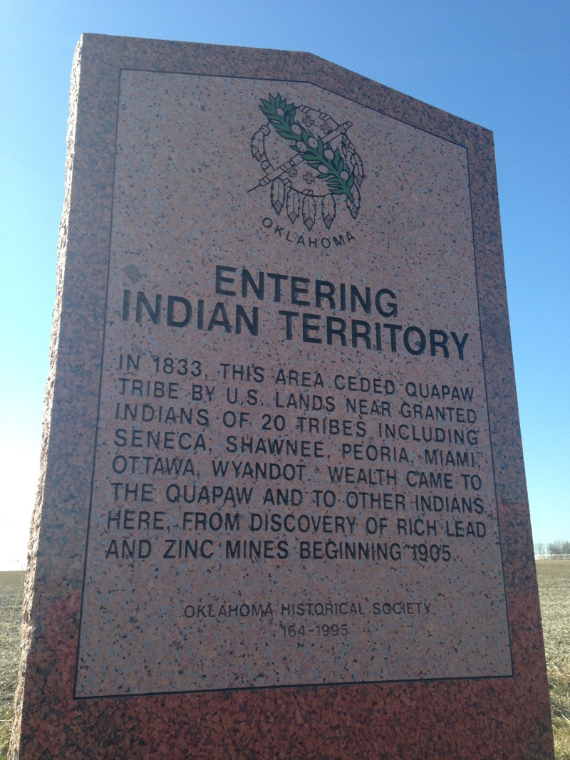 An Indian Territory marker just south of the Kansas border, off Route 66 north of Quapaw, Oklahoma. | Photo courtesy of AIANTA.