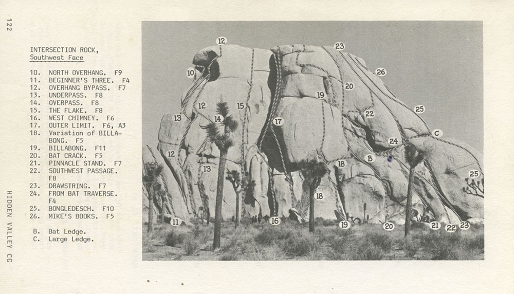 Routes for the southwest face of Intersection Rock from the 1979 edition of John Wolfe and Bob Dominick's A Climber's Guide to Joshua Tree National Monument.