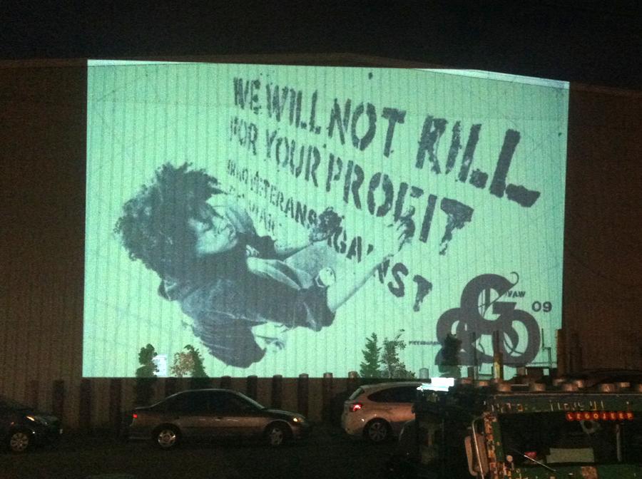 """""""Iraq Veterans Against the War"""" street art in Oakland"""