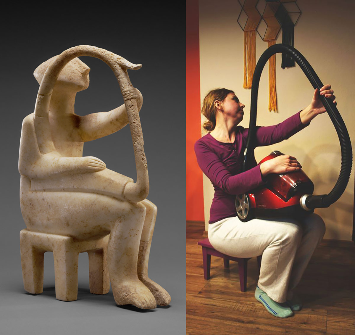 Male Harp Player of the Early Spedos Type, 2700–2300 B.C., Cycladic. Marble, 14 ⅛ x 11 1/16 in| The J. Paul Getty Museum, 85.AA.103 and a recreation via Facebook | Irena Ochódzka with canister vacuum