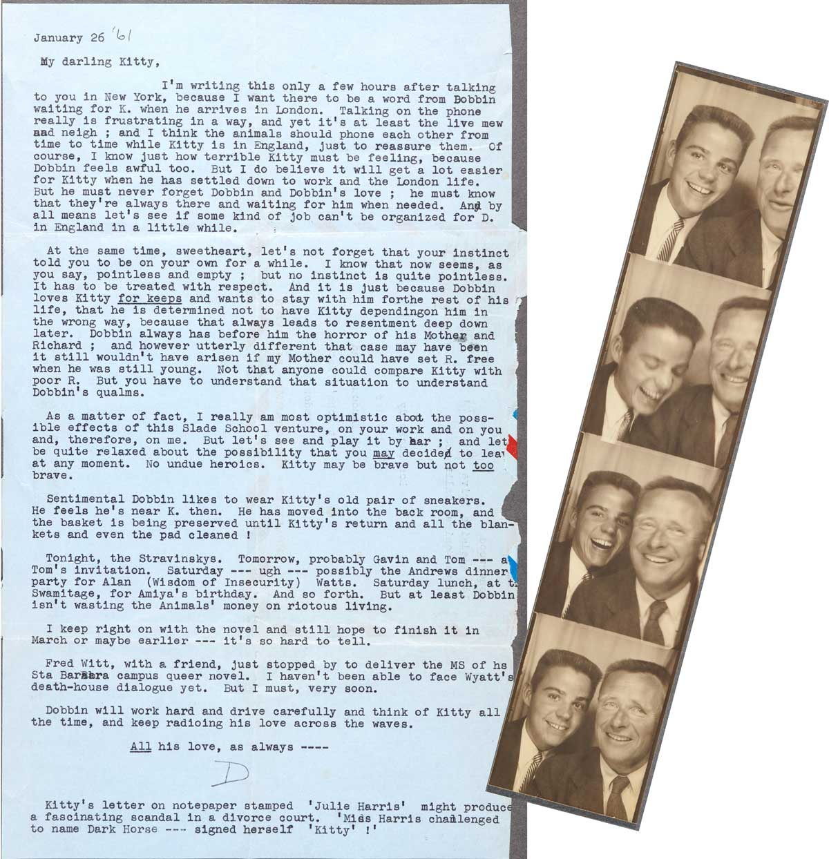 Christopher Isherwood's letter to Don Bachardy dated January 26, 1961 and photo booth photos of Don Bachardy and Christopher Isherwood dated March 30, 1953 | The Huntington Library, Art Museum, and Botanical Gardens