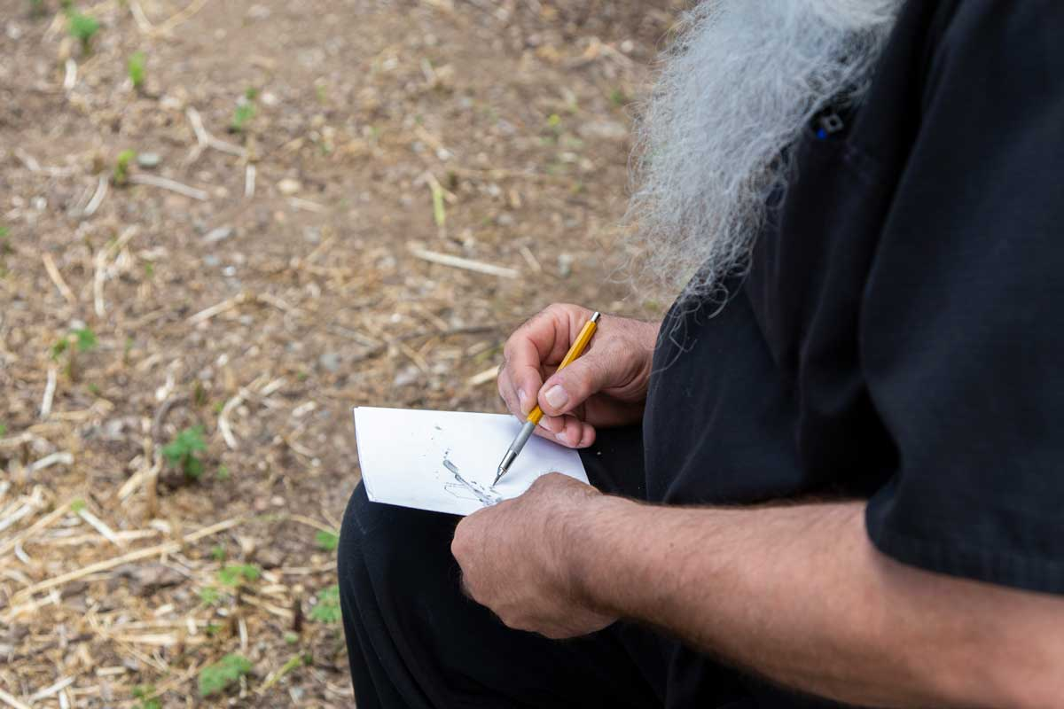 "Thomas Zummer drawing at San Clemente Border Station for ""Three Border Ecologies"" 