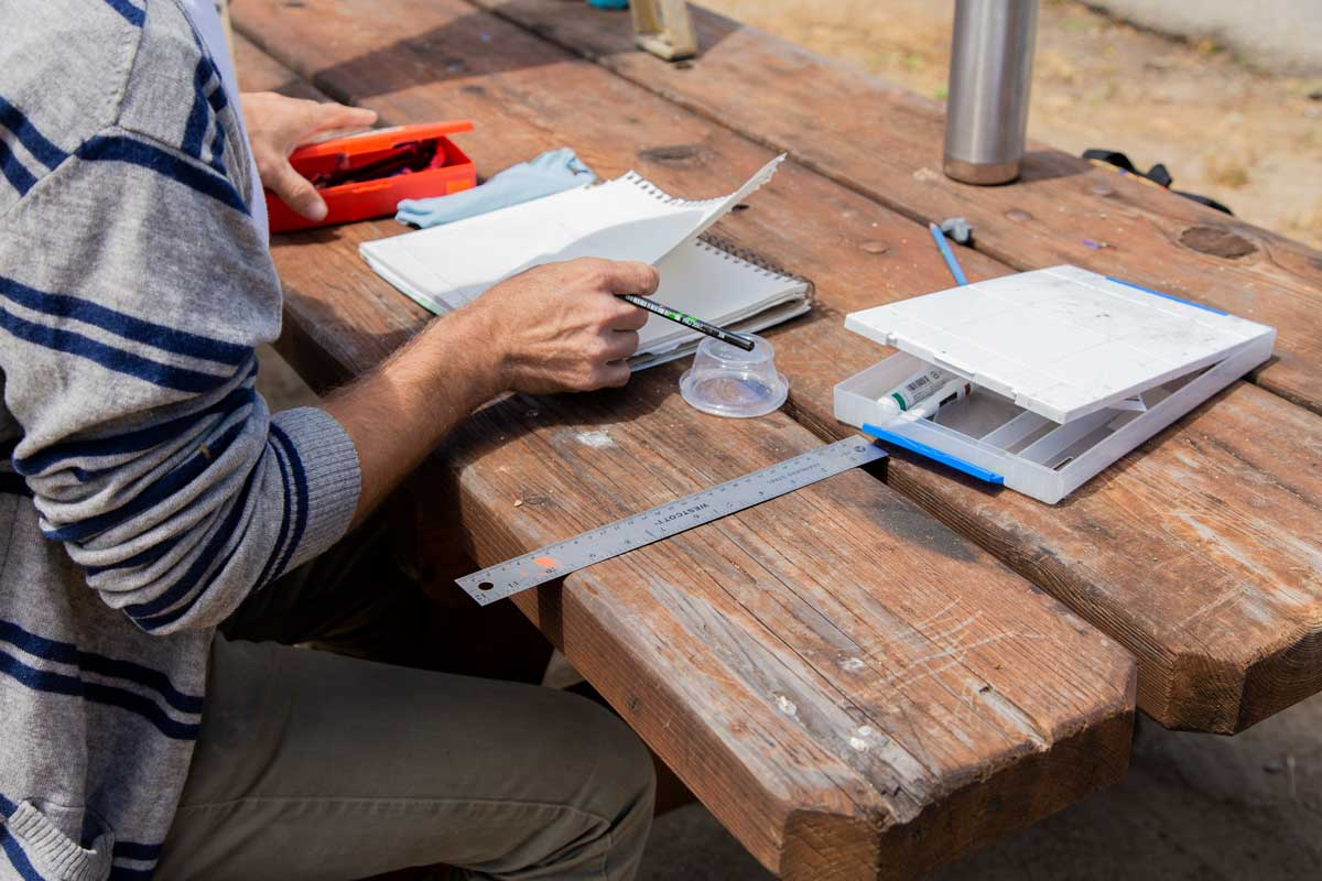 "Nikko Mueller working on a park table at the San Clemente Border Station for ""Three Border Ecologies"" 