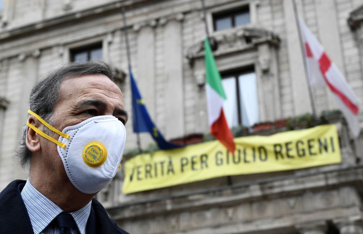 Mayor of Milan Giuseppe Sala addresses the media after a ceremony to draw an Italian flag to half mast as mayors across Italy stand in silence to honour the country's dead due to coronavirus disease (COVID-19), in Milan, Italy, March 31, 2020. REUTERS/Fla