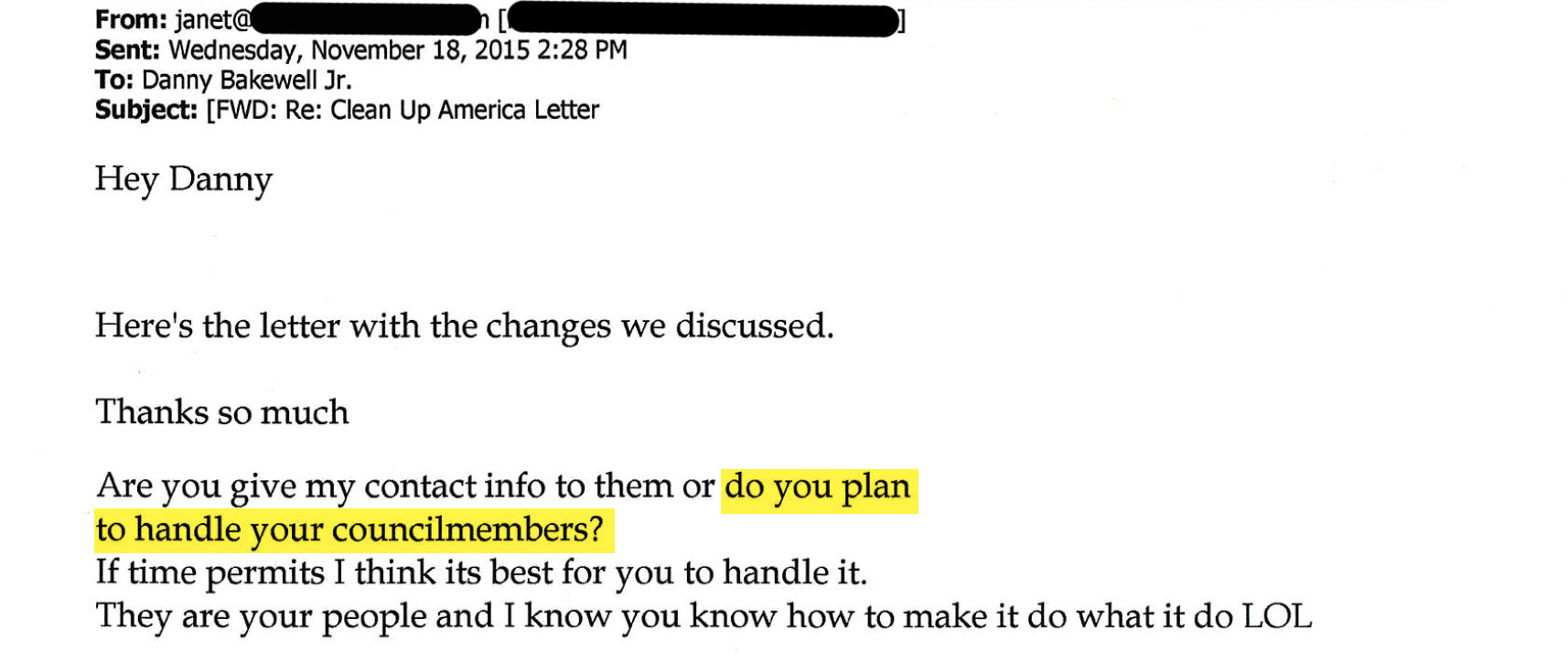 Screengrab of Clean Up America staff email to Danny Bakewell