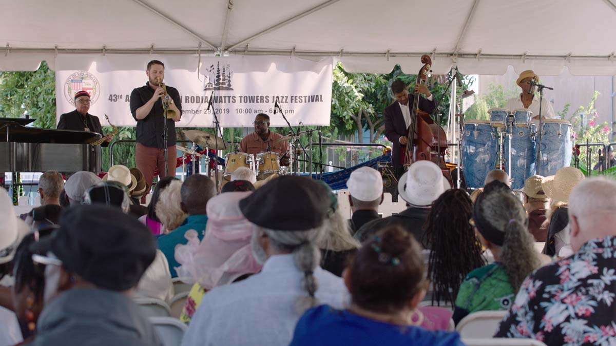 """A student from the Jazz Mentorship Program performs at the Simon Rodia Jazz Festival at the Watts Towers Arts Center. 