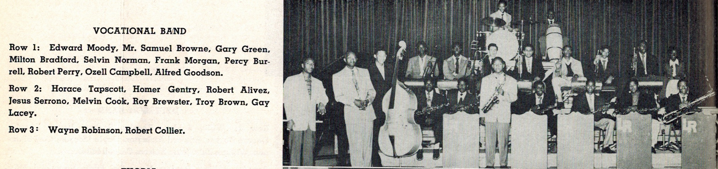 Jefferson High School swing band from the winter of 1951 featuring Samuel Browne, Horace Tapscott on trombones and Frank Morgan on the alto sax. | Courtesy of Steven Isoardi.
