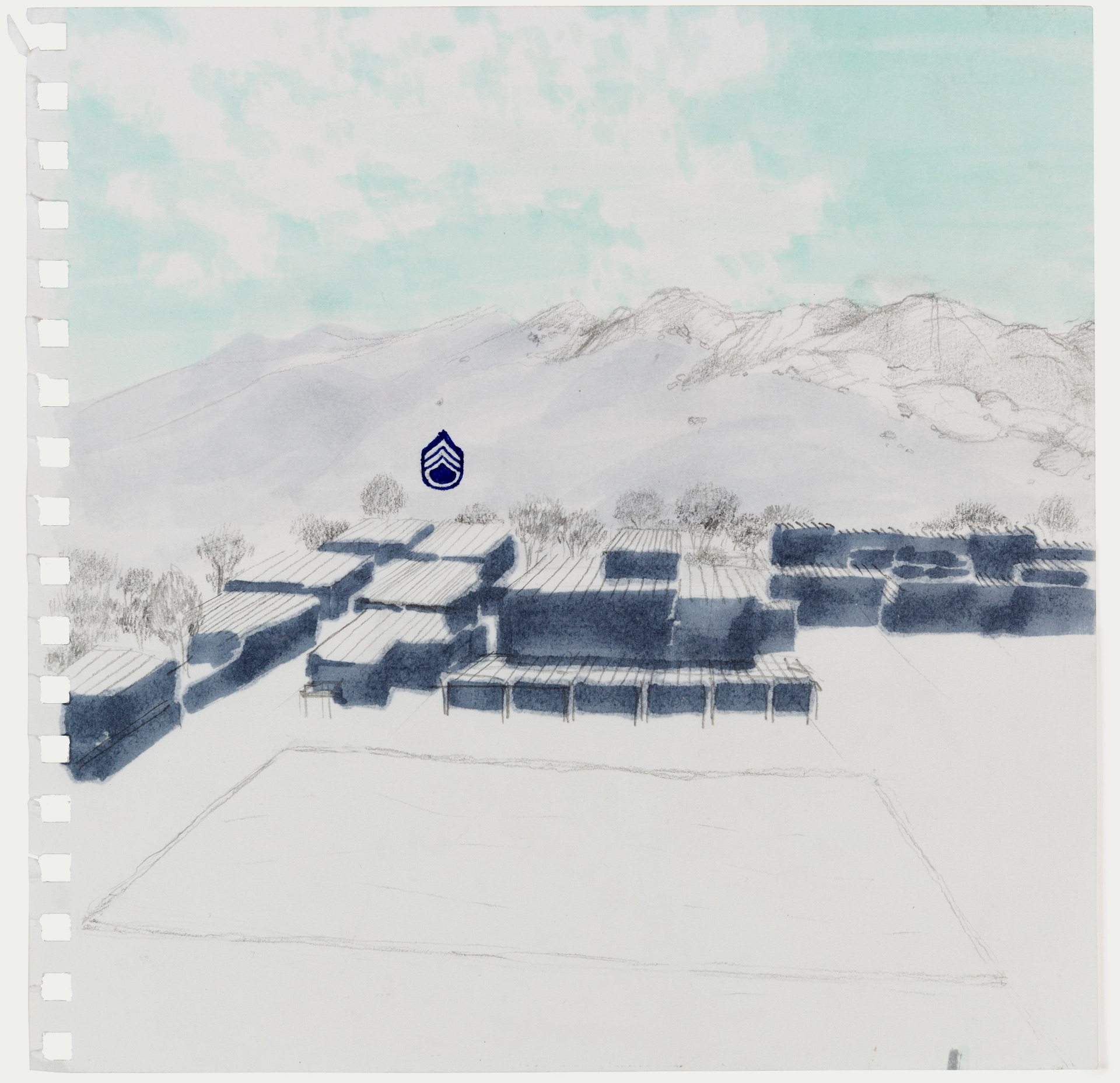 """Jena Lee, """"View from the Ridge with Platoon Leader's Location,"""" DICE-T, USC Institute for Creative Technologies, Los Angeles, CA, 2013. Graphite, alcohol marker, xylene marker, and ink on paper."""