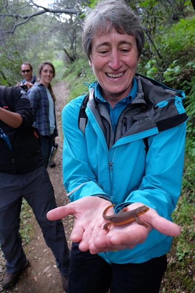 Interior Secretary Sally Jewell holds a California newt at Berryessa Snow Mountain NM | Photo: Tami A. Heilemann