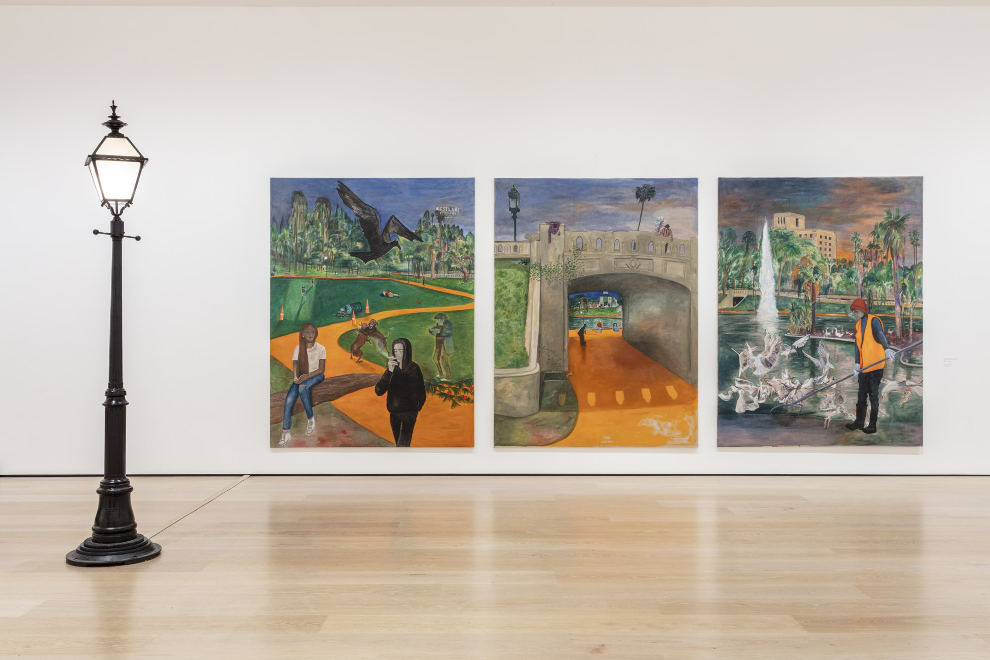 """An installation view of Jill Mulleady's work at """"Made in L.A. 2020: a version."""" at Hammer Museum, Los Angeles. 
